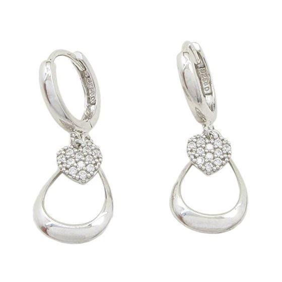 Womens Heart and teardrop chandelier earring Silver5 1