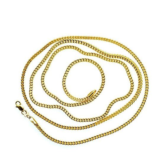 539b82416c5b9 14K Solid Yellow Gold Franco Chain Necklace 1.8MM Wide Sizes: 16