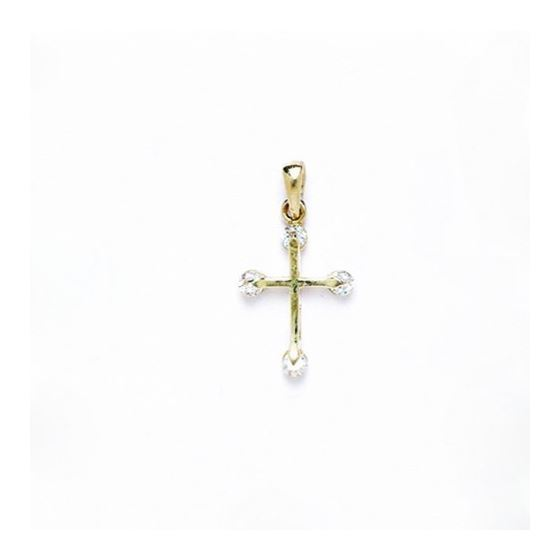 14K Gold Cross Pendant CZ P45