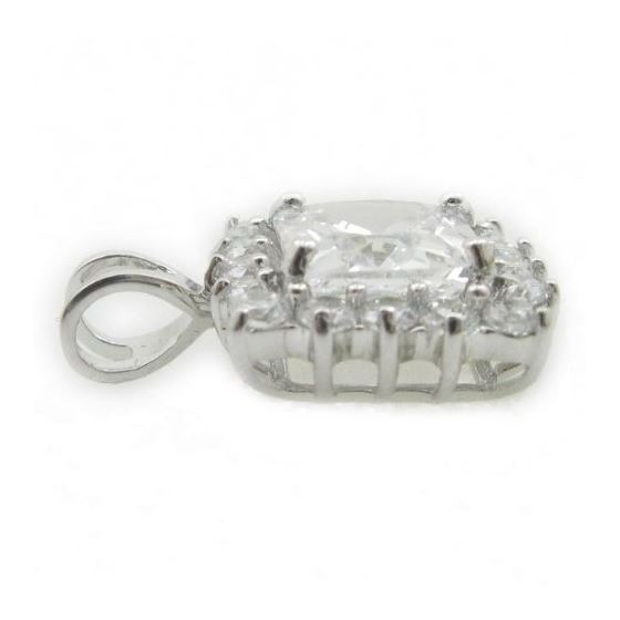 Ladies .925 Italian Sterling Silver fancy pendant with white stone Length - 20mm Width - 13mm 3
