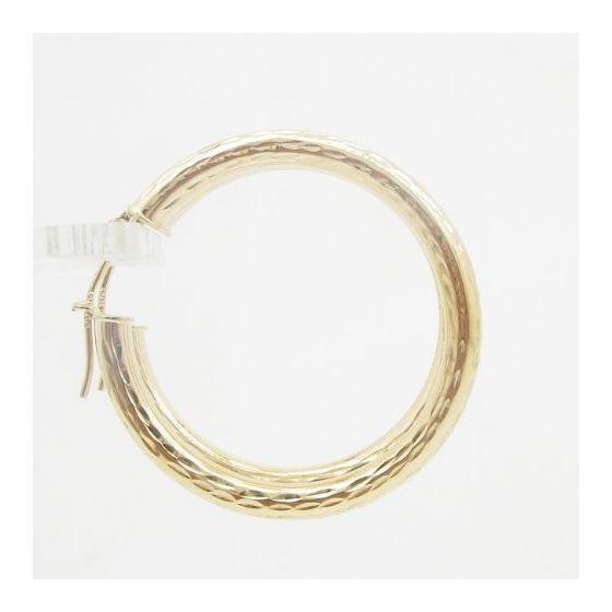10k Yellow Gold earrings Mini diamond cut hoop AGBE45 3