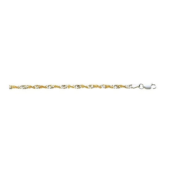 Sterling Silver 2.9 mm Wide Polished Diamond Cut Singapore Like Chain Anklet 16 Inch Long
