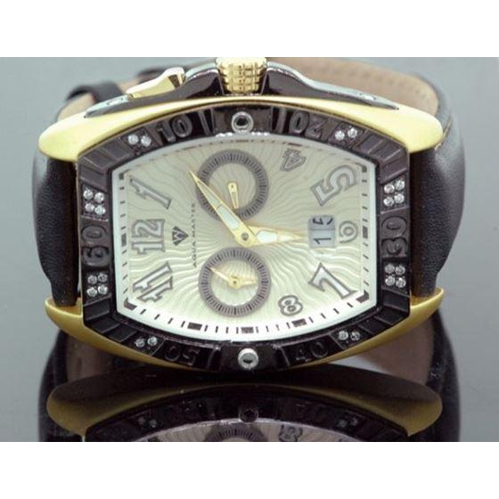 Aqua Master Tonneau 0.50 ct Diamond Mens Yellow Watch