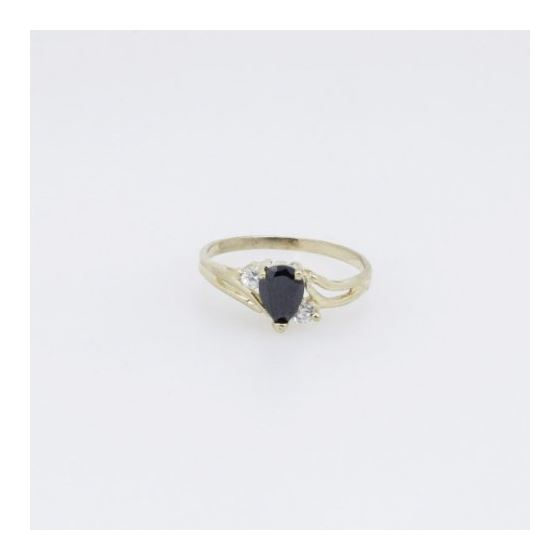 10k Yellow Gold Syntetic black gemstone ring ajr28 Size: 6.75 3