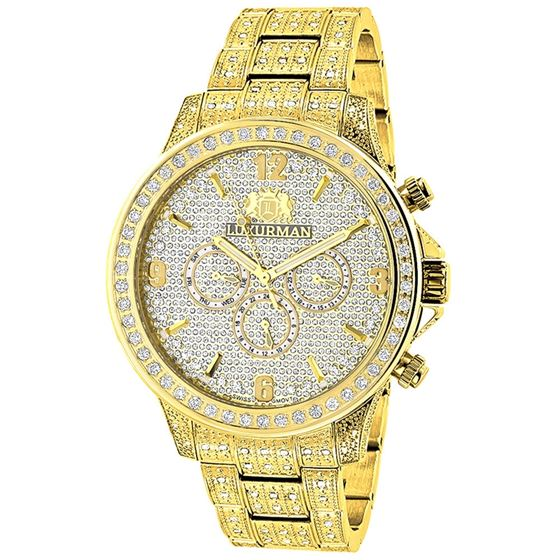 LUXURMAN ICED OUT MENS DIAMOND WATCH 3CT YELLOW GOLD PLATED LIBERTY 1