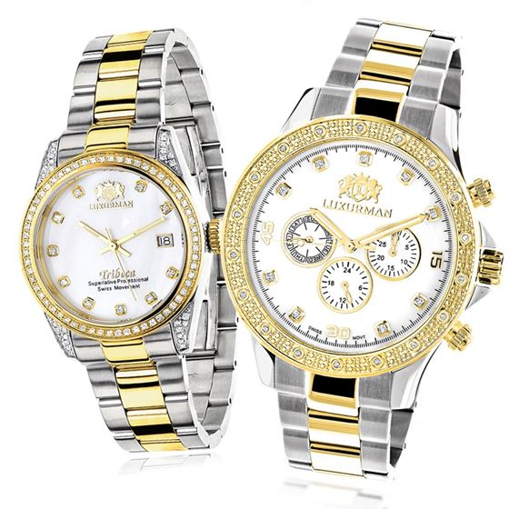 MATCHING WATCHES FOR COUPLES LUXURMAN YELLOW GOLD PLATED DIAMOND WATCH SET 1
