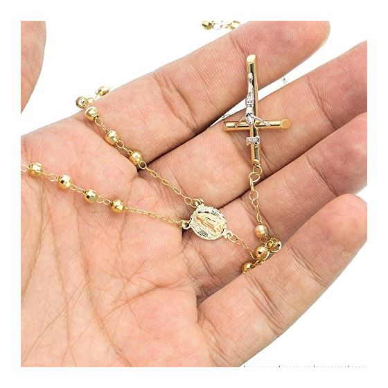 10K YELLOW Gold HOLLOW ROSARY Chain - 28 Inches Long 3.8MM Wide 3