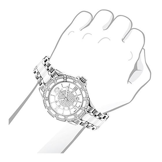 Ladies Genuine Diamond Ceramic Watch 1.2 90199 3