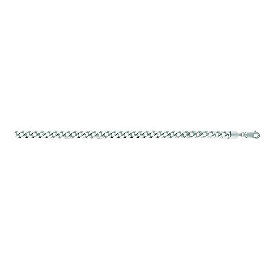 14K White Gold 4.4mm wide Diamond Cut Miami Cuban Link Chain with Lobster Clasp