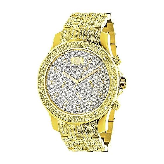 LUXURMAN Mens Diamond Watch Yellow Gold Tone 1Ct