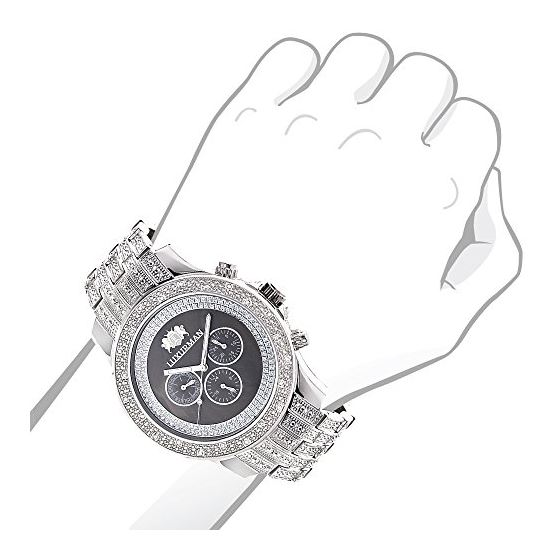 Iced Out Mens Diamond Watch By LUXURMAN 1Ct Blac-3