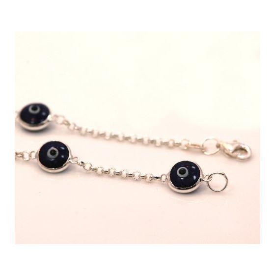 """""""Evil Eye Murano Glass Bead Designer Sterling Silver Bracelet ST09"""