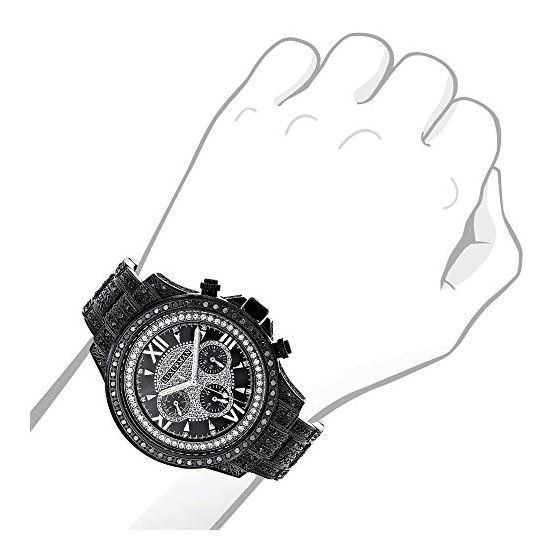 Iced Out Phantom Mens Black Genuine Diamond Luxurman Watch 3ct Chronograph 3