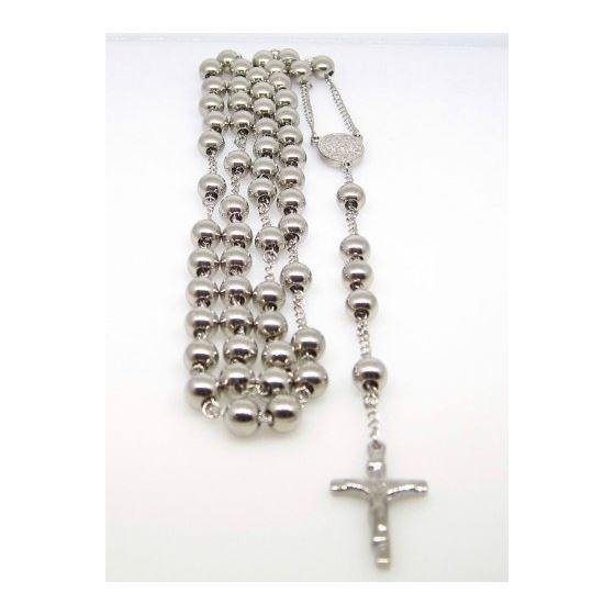 Mens Stainless Steel Silver Tone Rosary Chain Necklace with Cross 8MM 1