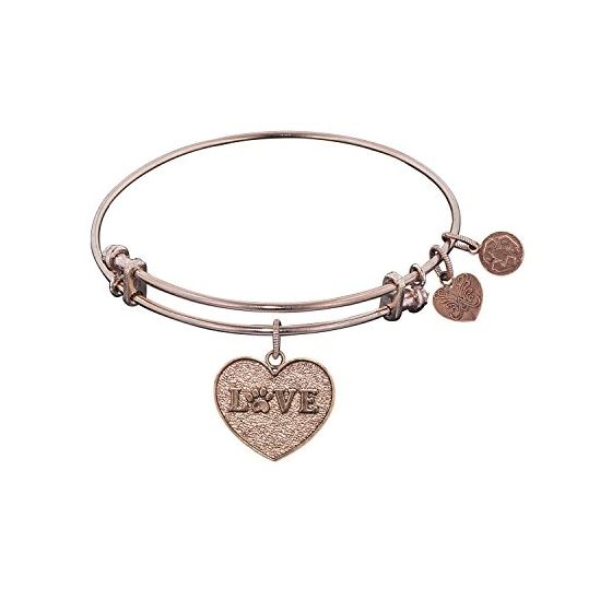 Angelica Ladies Love and Hearts Collection Bangle Charm 7.25 Inches (Adjustable) PGEL1028