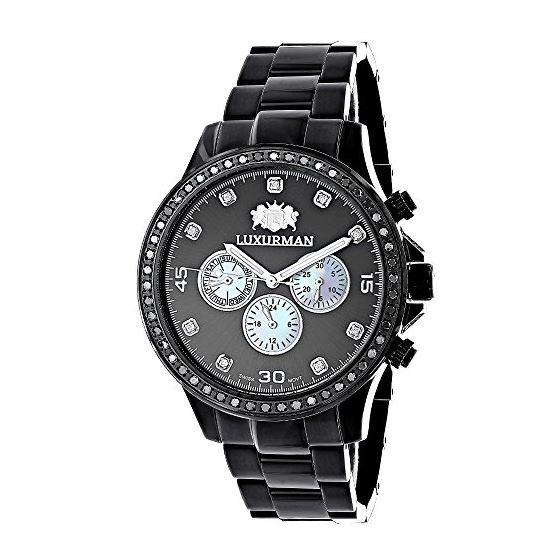 a2f06741c69 ... Men by Luxurman Phantom Chronograph. 2 Carat Black Diamond Large Bezel  Watch 89577 1