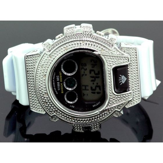 Ice Plus Mens Diamond Shock Style Watch White Case White Band 1