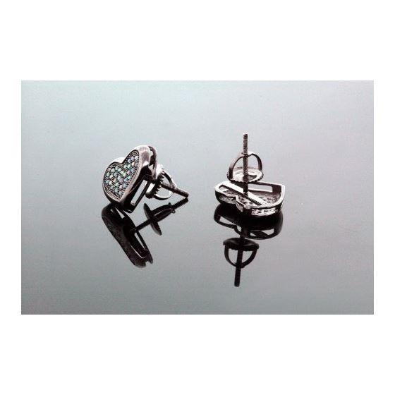 .925 Sterling Silver Black Heart Black Onyx Crystal Micro Pave Unisex Mens Stud Earrings 10mm 3