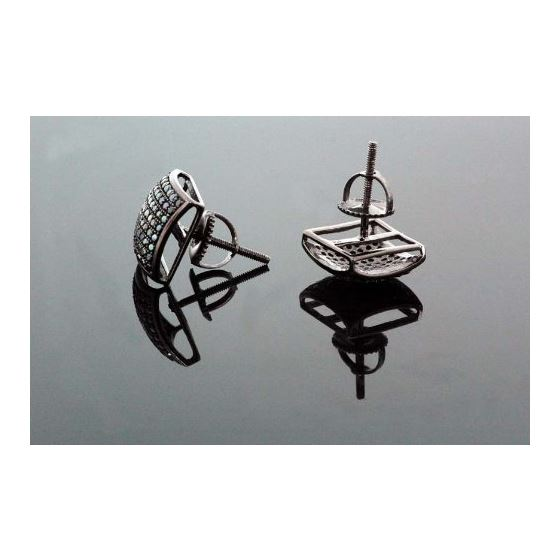 .925 Sterling Silver Black Square Black Onyx Crystal Micro Pave Unisex Mens Stud Earrings 14mm 3