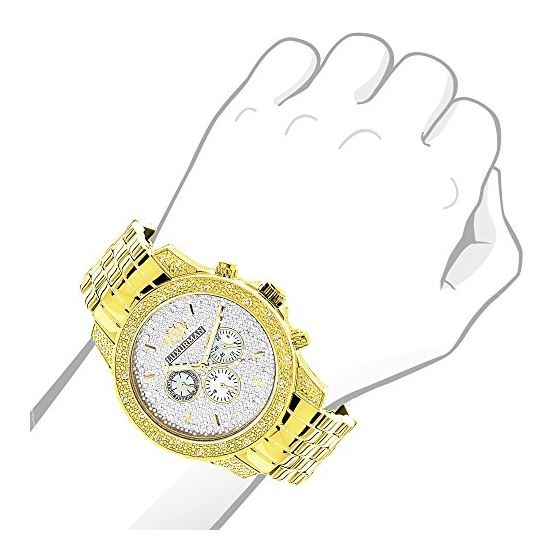 Luxurman Mens Diamond Watch 0.5ct Yellow Gold Plated in White Sparkling Stones. 3