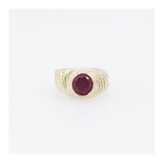 10k Yellow Gold Syntetic red gemstone ring ajjr88 Size: 2 3