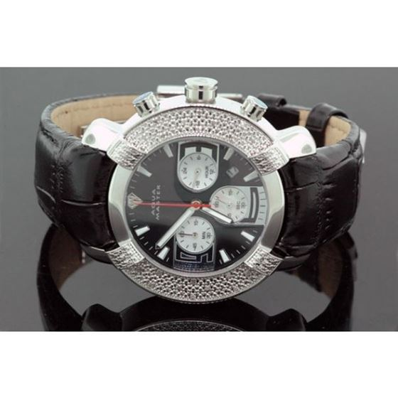 Aqua Master Mens Black Face Diamond Watc 54571 1