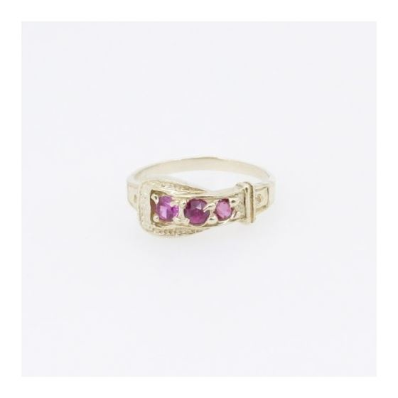 10k Yellow Gold Syntetic red gemstone ring ajjr35 Size: 3.75 3