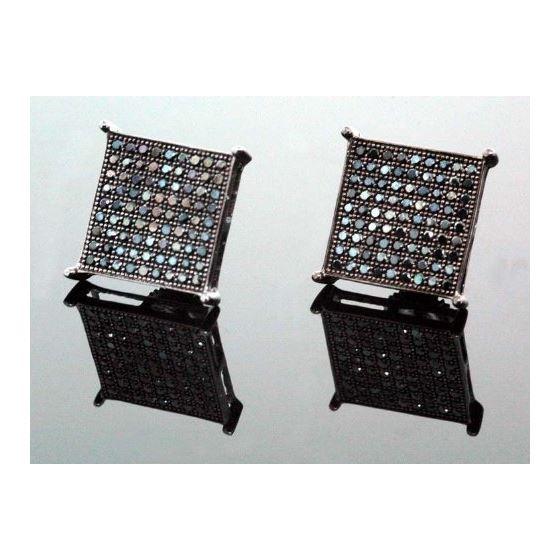.925 Sterling Silver Black Square Black Onyx Crystal Micro Pave Unisex Mens Stud Earrings 14mm 1