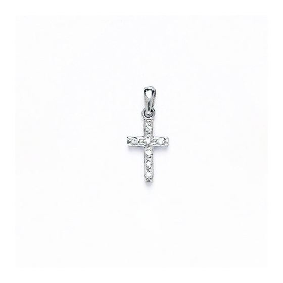 14K Gold Cross Pendant CZ PW40