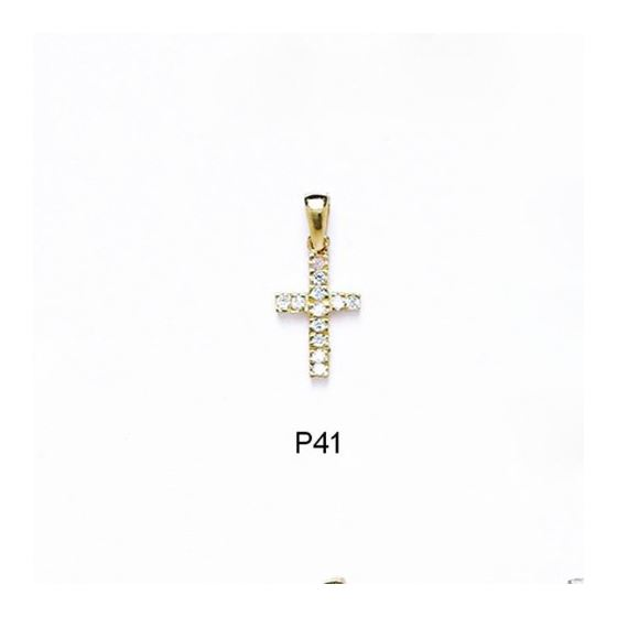 14K Gold Cross Pendant CZ P41
