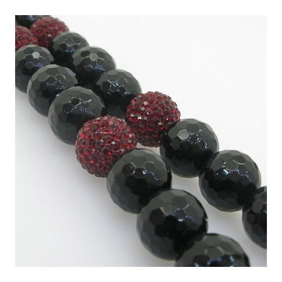 Mens Beaded Rosary Chain Crystal Gemstone Bracelet Ball Pave Macrame Necklace Red and Black Rosary 3