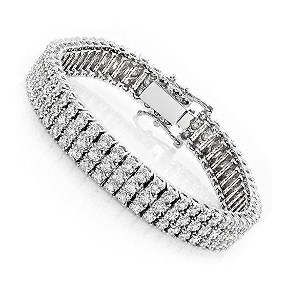 10K 3-Row Prong Set Natural Diamond Bracelet For M