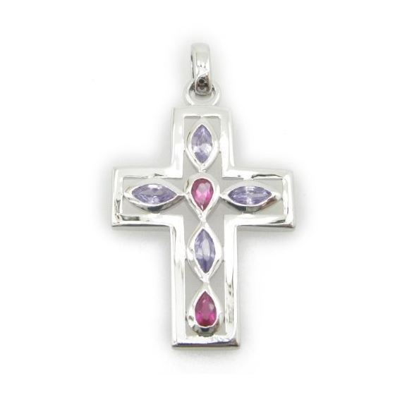 Ladies .925 Italian Sterling Silver cross pendant with purple and pink stones Length - 1.77 Width -