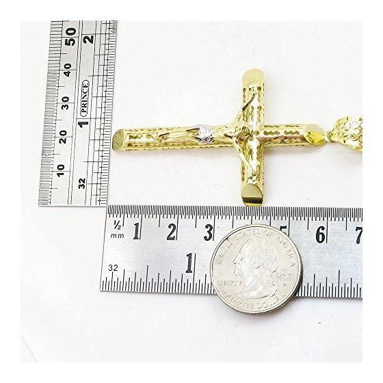 Mens 10k Yellow Gold Jesus cross with stones Pendant 3