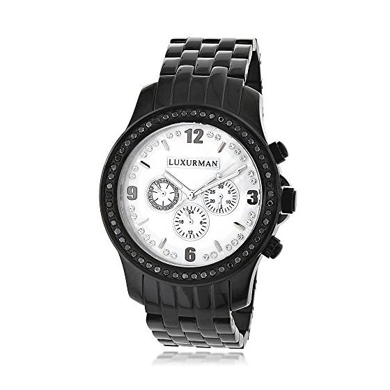 Genuine Mens Black Diamond Watch by Luxurman 2.25ct White Mother Of Pearl 1