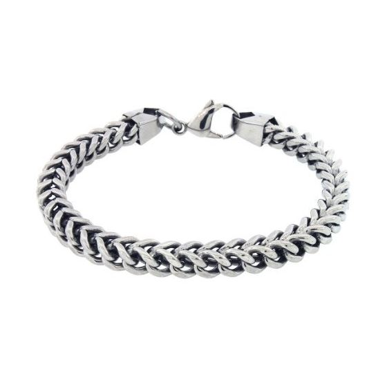 Mens White Gold Plated Steel Franco Chain Bracelet 8 5 Inches 6 5mm