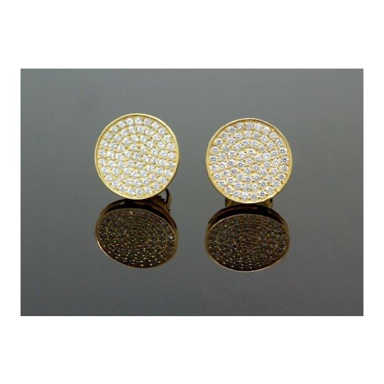 .925 Sterling Silver Yellow Circle White Crystal Micro Pave Unisex Mens Stud Earrings 1