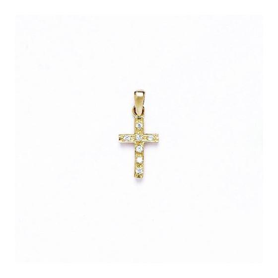 14K Gold Cross Pendant CZ P40