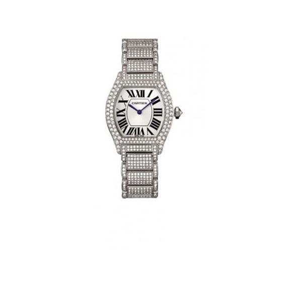 Cartier Tortue Diamond 18kt White Gold Ladies Watch WA5049MC