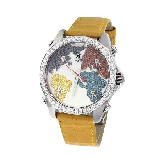 Jacob Co. Yellow Band Five Time Zone World Map 4.0